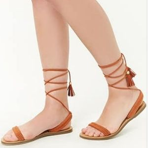 Tan Braided Lace-Up Sandals